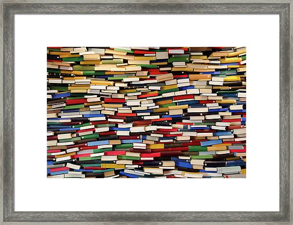 Huge Stack Of Books - Book Wall Framed Print by Funky-data