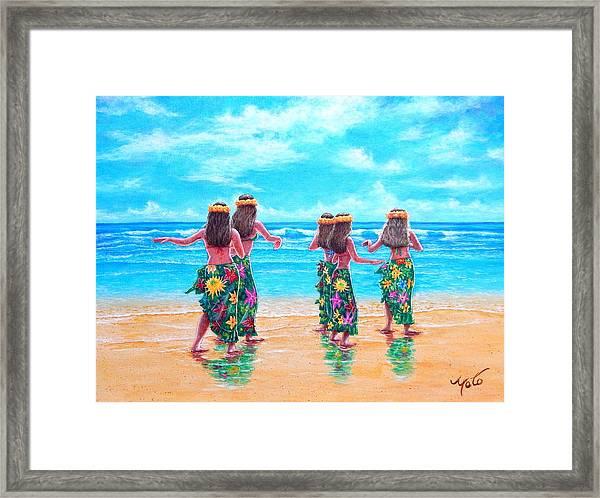 Hula Dancers Hawaii Framed Print