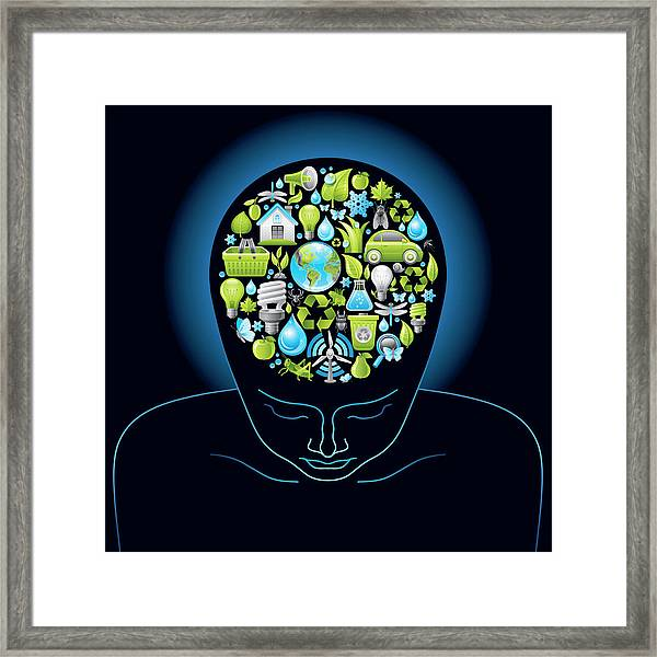 Human Head With Ecological Symbols In Framed Print