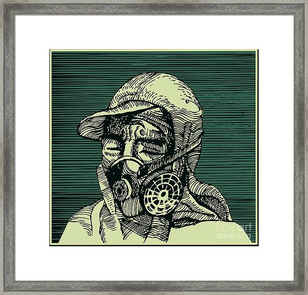 Human Head With Mask Framed Print