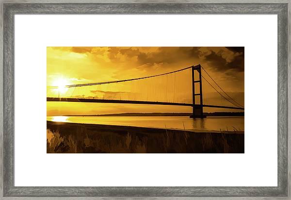 Framed Print featuring the photograph Humber Bridge Golden Sky by Scott Lyons