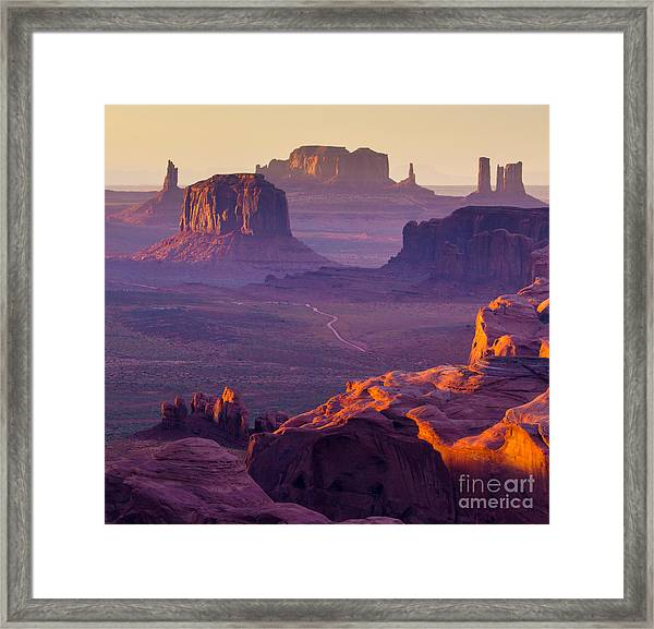 Hunts Mesa, Monument Valley - American Framed Print