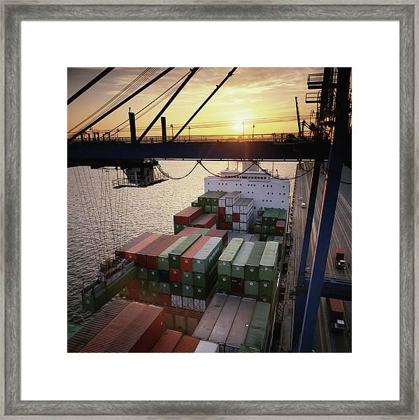 Hydraulic Cargo Crane Loading Framed Print by Greg Pease