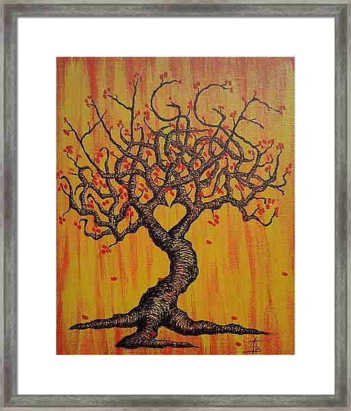 Framed Print featuring the drawing Hygge Love Tree by Aaron Bombalicki