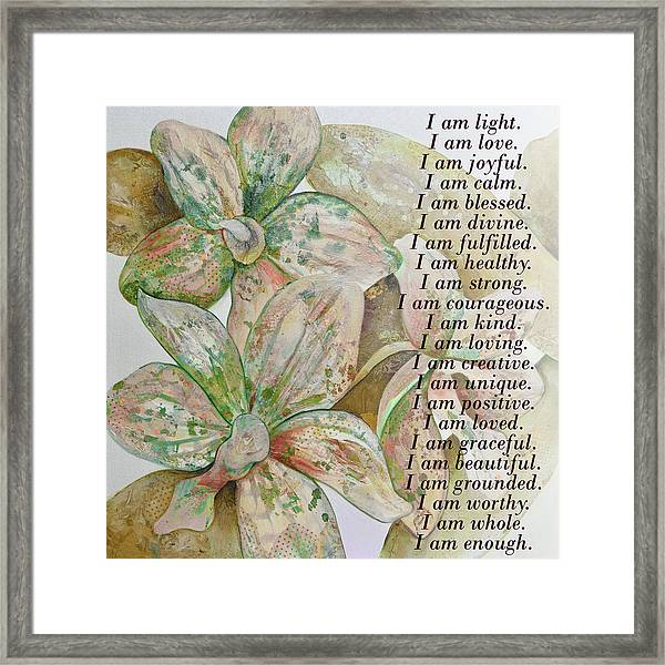 I Am...positive Affirmation In Coral And Green Framed Print
