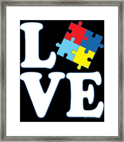 Framed Print featuring the digital art I Love Autism by Flippin Sweet Gear