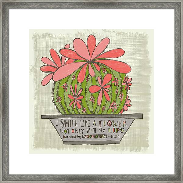 I Smile Like A Flower Rumi Quote Framed Print