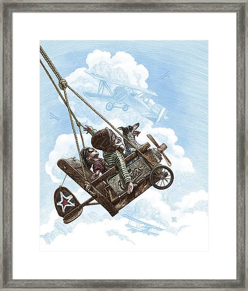 Framed Print featuring the drawing I Want To Fly by Clint Hansen