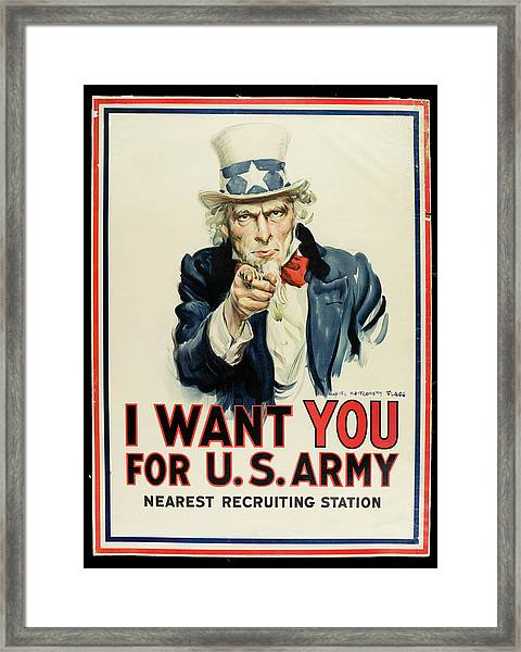 I Want You For U.s. Army Poster Framed Print