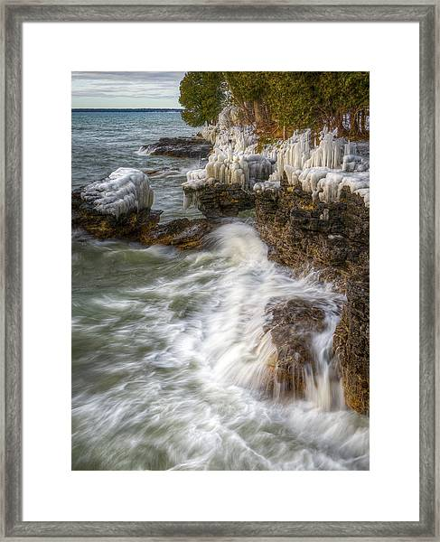 Ice And Waves Framed Print