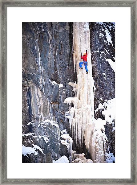 Ice Climber On A Icefall, Rjukan Framed Print
