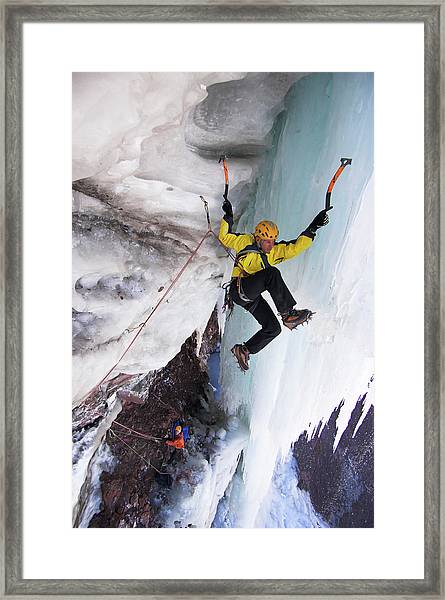 Ice Climber On Icy Rock Face, Mount Framed Print