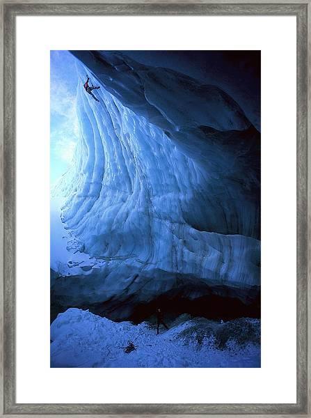 Ice Climbing On Pitztal Glacier, Tyrol Framed Print