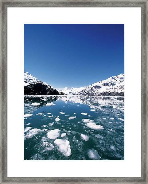 Ice Melting On John Hopkins Glacier Framed Print by Medioimages/photodisc