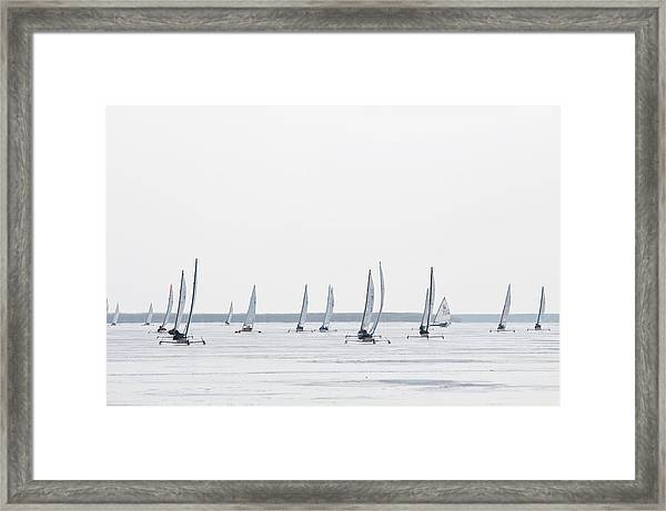 Ice Sailing Race On Neusiedler Lake Framed Print