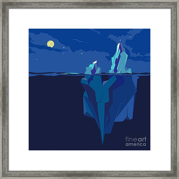 Iceberg Underwater And Above Water At Framed Print