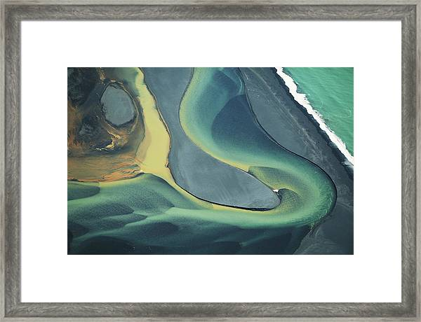 Iceland, Colorful Volcanic Sediment In Framed Print