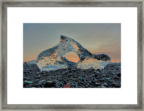 Iceland Diamond Beach Abstract  Ice Framed Print