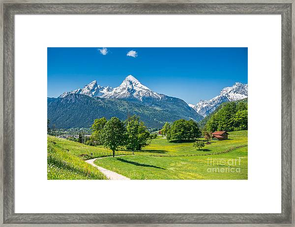 Idyllic Summer Landscape In The Alps Framed Print