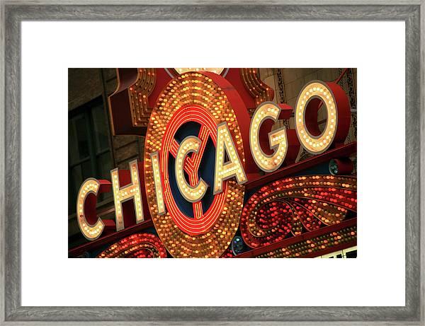 Illuminated Chicago Theater Sign Framed Print