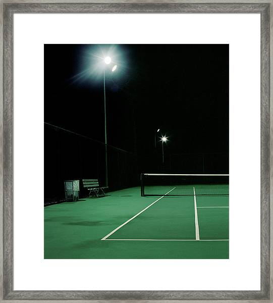 Illuminated Tennis Court, Night Framed Print