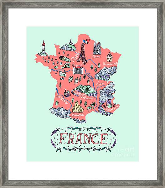 Illustrated Map Of France. Travel Framed Print by Daria i