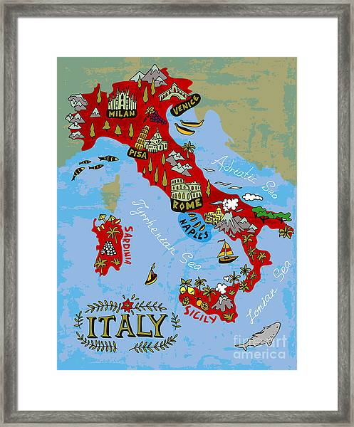 Illustrated Map Of Italy. Travel Framed Print by Daria i