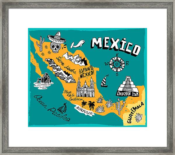 Illustrated Map Of Mexico  With The Framed Print