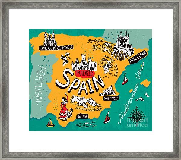 Illustrated Map Of Spain Framed Print