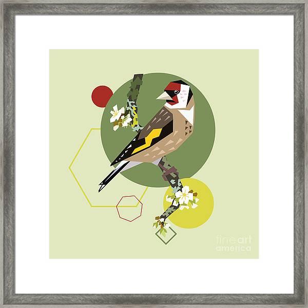 Illustration Of A Bird On Blooming Framed Print