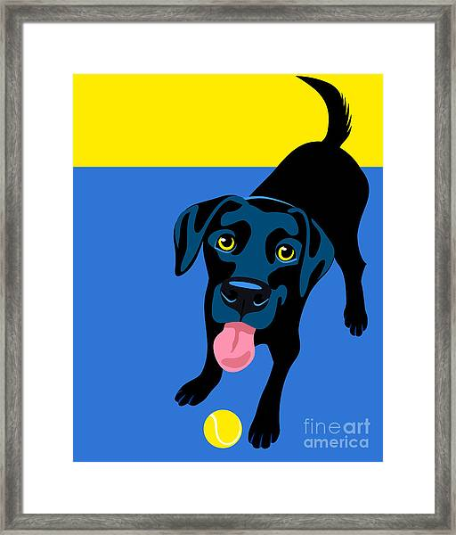 Illustration Of A Happy Playful Black Framed Print by Teddyandmia