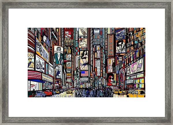 Illustration Of A Street In New York Framed Print
