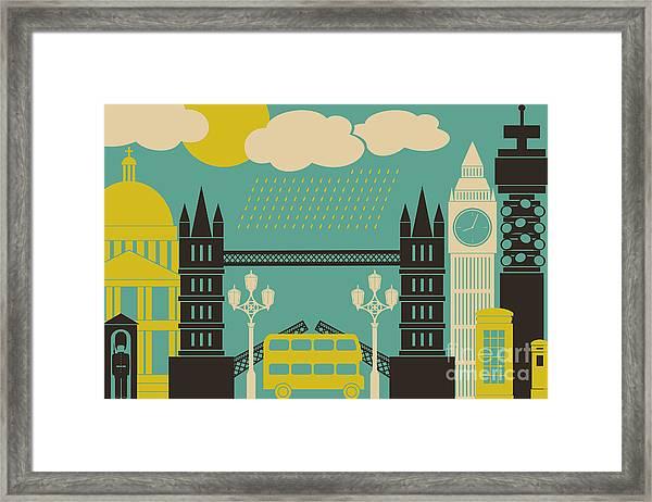 Illustration Of London Symbols And Framed Print