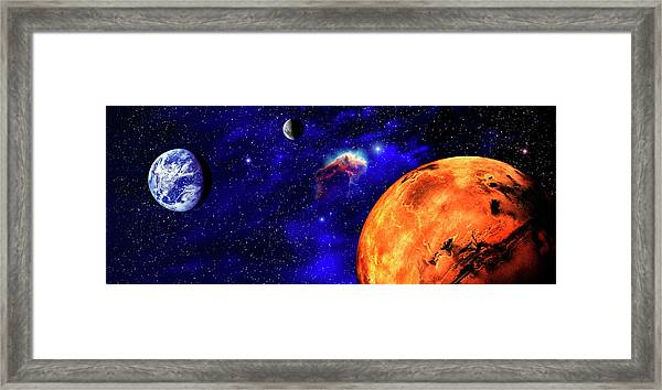 Illustration Of Mars And Earth Framed Print