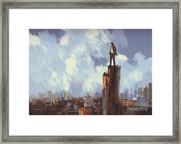 Illustration Painting Of Businessman Framed Print