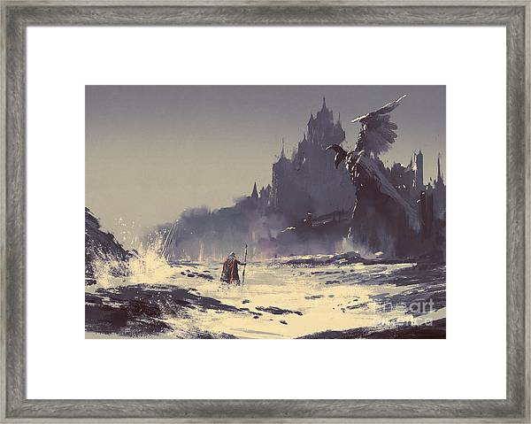 Illustration Painting Of King Walking Framed Print