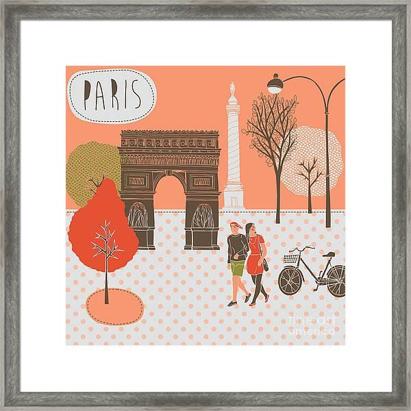 Illustration With Paris, France Framed Print