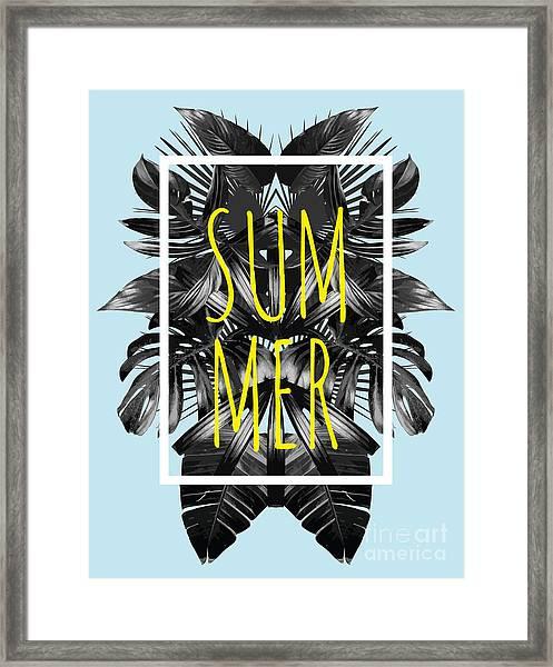 Illustration Word Slogan Summer In A Framed Print