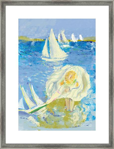 Image Of A Little Girl Who Plays On The Framed Print