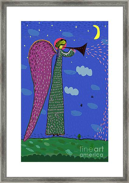 Image Of An Angel Who Blows The Trumpet Framed Print