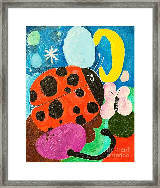 Image Of Ladybug And A Butterfly Framed Print
