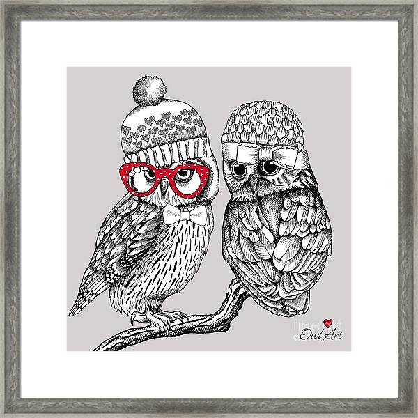 Image Of Two Owls In Knitted Hats Framed Print