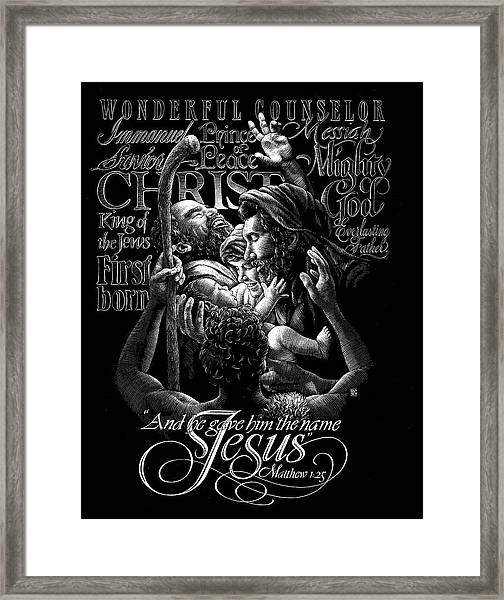 Framed Print featuring the drawing Immanuel by Clint Hansen
