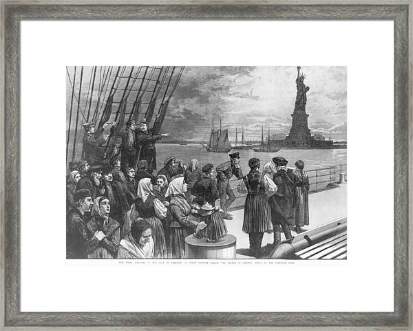 Immigrants View The Statue Of Liberty Framed Print