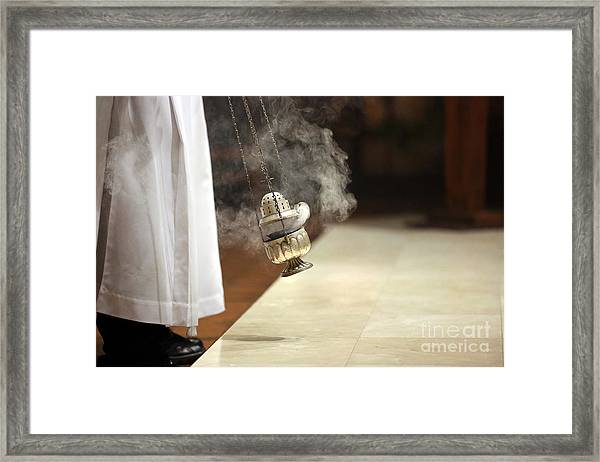 Incense During Mass At The Altar Framed Print