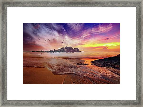 Incoming Tide At Sunset Framed Print