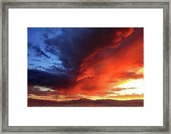 Incredible Blue-red Sky Before Sunset Framed Print