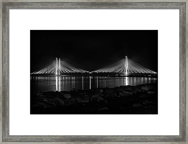 Indian River Bridge After Dark In Black And White Framed Print