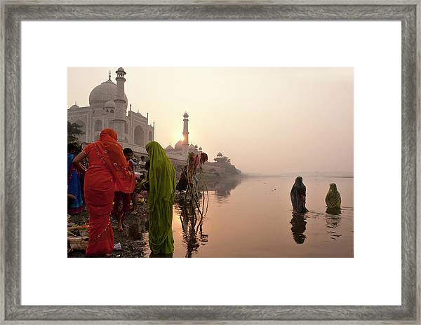 Indian Woman,traditional Dress In Front Framed Print by Partha Pal