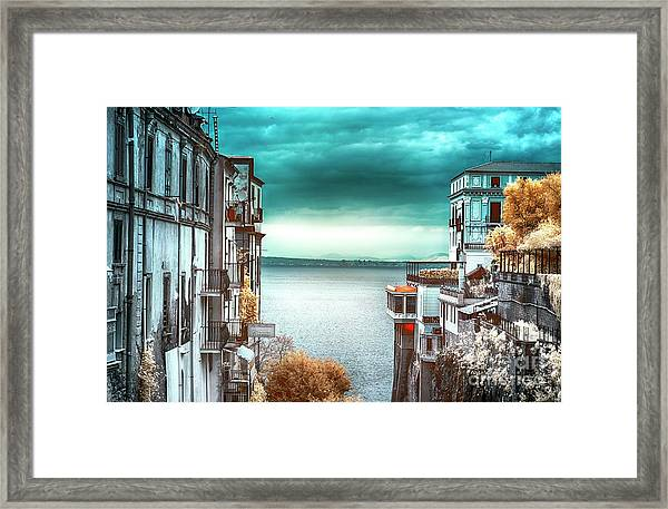 Infrared Bay Of Naples View Framed Print by John Rizzuto